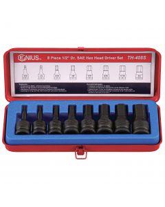 "Genius Tools 8 Piece 1/2"" Dr. SAE Hex Impact Bit Socket Set (CR-Mo) - TH-408S"