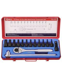 """Genius Tools 15 Piece 1/2"""" Dr. Star Impact Bit Socket Component Set (CR-Mo) - TX-415"""